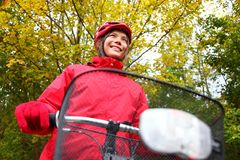 Fall bike woman Royalty Free Stock Photo