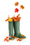 Fall-Blätter in den Stiefeln stockfoto