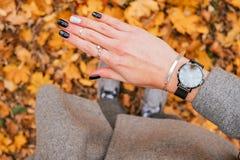 Fall black manicure royalty free stock photo