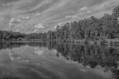 The Fall in Black and White Reflection. Taken at Flat Rock Park, in Columbus, Georgia during the Fall royalty free stock photo