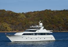 Fall Boating In Minnesota. Boating on the St. Croix River in Stillwater, Minnesota in the fall Royalty Free Stock Photo