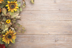 Fall border with sunflowers Royalty Free Stock Images