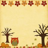 Fall Breeze. Pumpkins on texture canvas with owl and leafs Royalty Free Stock Photography