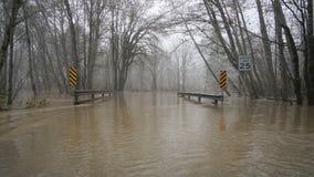 Skokomish river floods from heavy rain stock images