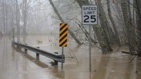 Skokomish river floods from heavy rain stock image