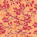 Fall buckthorn berries seamless pattern background Stock Images