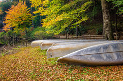 Fall, Camp Blanton, Southeastern Kentucky. Canoes stored for the season at Camp Blanton Boyscout Camp in Southeastern Kentucky Royalty Free Stock Photos