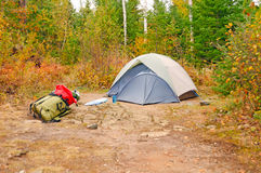 Fall Campsite in the wilds. Remote Campsite on Ogishkiemuncie Lake in the Boundary Waters stock photo