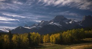 Fall in Canadian Rockies. Deep blue skies and snowy peaks Stock Images