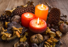 Fall candles decorations with dried leaves, pumpkins, chanterell Royalty Free Stock Image