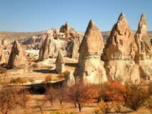 Fall in Cappadocia. Beautiful landscape in Cappadocia with abandoned castle stock photography