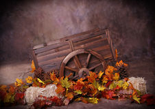 Fall Cart. Minature Garden Decorative Fall Horse/Mule/Ox Cart, Decorated with leaves and haybales. Great digital prop for professional photographers royalty free stock images