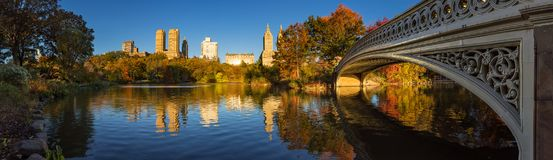 Fall in Central Park with the Bow Bridge and the Lake, New York City Royalty Free Stock Images