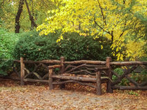 Fall in Central Park - 2. A lone bench in Central Park, New York City, USA in the fall Royalty Free Stock Images