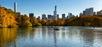 Fall in Central Park with Manhattan skyscrapers, New York City Royalty Free Stock Photo