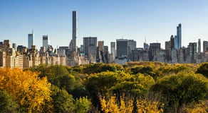 Fall in Central Park with Midtown Skyscapers. New York City Stock Images