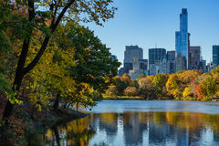 Fall in Central Park with Midtown skyscrapers, New York City Royalty Free Stock Photos