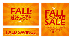Fall clearance sale banners. Royalty Free Stock Photography
