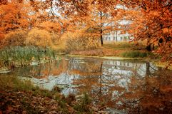 Fall cloudy landscape - abandoned house at the bank of the river in the cloudy fall forest. Fall cloudy landscape - abandoned house at the bank of the river in stock photo
