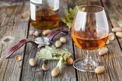 Fall cold weather time, relax with glass of alcohol Royalty Free Stock Photo