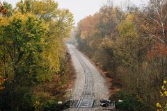 Fall color along a railroad track, from the Blue Ridge Parkway in Virginia stock photography