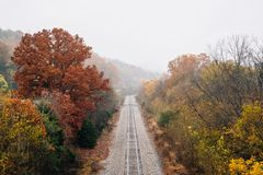 Fall color along a railroad track, from the Blue Ridge Parkway in Virginia royalty free stock images