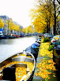 Fall color Amsterdam canal Royalty Free Stock Image