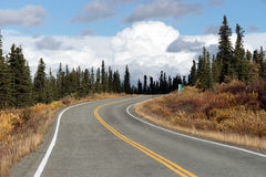 Fall Color Autumn Landscape Alaska Two Lane Road Highway Royalty Free Stock Photography