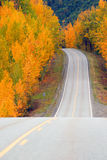Fall Color Autumn Landscape Alaska Two Lane Road Highway Royalty Free Stock Photos