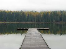 Fall color and dock,. Round Lake State Park, ID royalty free stock photos