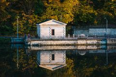 Fall color at Lake Roland, in Baltimore, Maryland.  royalty free stock image
