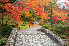 Fall Color Landscape with Stone Bridge and Walking Path Stock Photo