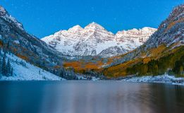 Fall color at Maroon lake at night after snow in Aspen, Colorado.  stock image