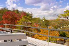 Fall Color at Obed. Cumberland County, Tennessee USA, October 16, 2016: Visitors enjoy the fall color from the Lilly Bluff overlook at Obed Wild and Scenic River Stock Photography