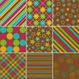 Fall Color Patterns. Set of nine background patterns in bold fall colors Stock Image