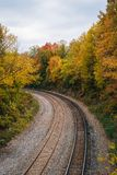 Fall color and railroad tracks in Remington, Baltimore, Maryland.  stock photos