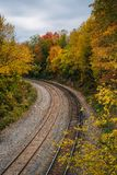 Fall color and railroad tracks in Remington, Baltimore, Maryland.  royalty free stock photo