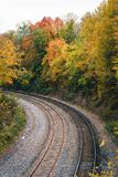 Fall color and railroad tracks in Remington, Baltimore, Maryland.  stock image