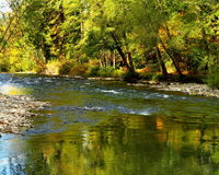Fall color river reflections royalty free stock photo