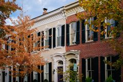 Fall color and row houses in Old Town, Alexandria, Virginia royalty free stock image