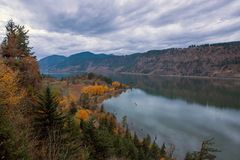 Fall Color at Ruthton Point in Hood River Oregon USA. Fall Season Color at Ruthton Point along Columbia River in Hood River Oregon on a cloudy day USA America stock image