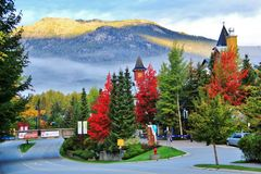 Fall color in Whistler, BC, Canada. Olympic village is beautiful Stock Photo