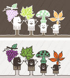 Fall colored cartoon. Hand drawn characters Royalty Free Stock Photo