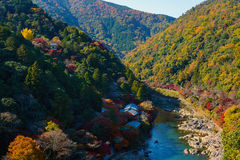 Fall colored forests along the Katsura River in the Arashiyama part of Kyoto, Japan during autumn. Autumn foliage coloring the mountainsides along the beautiful Stock Photography
