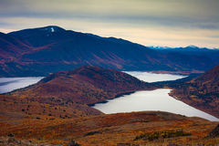 Fall-colored mountain lakes landscape Stock Photography