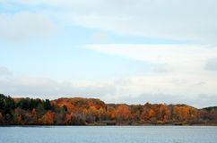 Fall colored trees by a lake Royalty Free Stock Photos