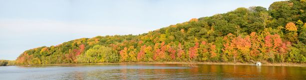 Fall Colors Along the St. Croix River. Panoramic View of Fall Colors Along the St. Croix River near Stillwater, Minnesota Royalty Free Stock Images