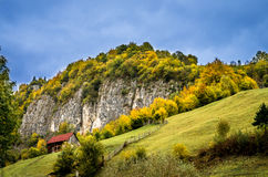 Fall colors around a cottage house. Royalty Free Stock Images