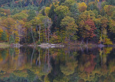 Fall colors. A beautiful reflection of fall colors in the river. New England fall foliage vacation. New Hampshire stock photo