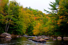 Fall Colors Begin To Show Along The Smith River Stock Photo